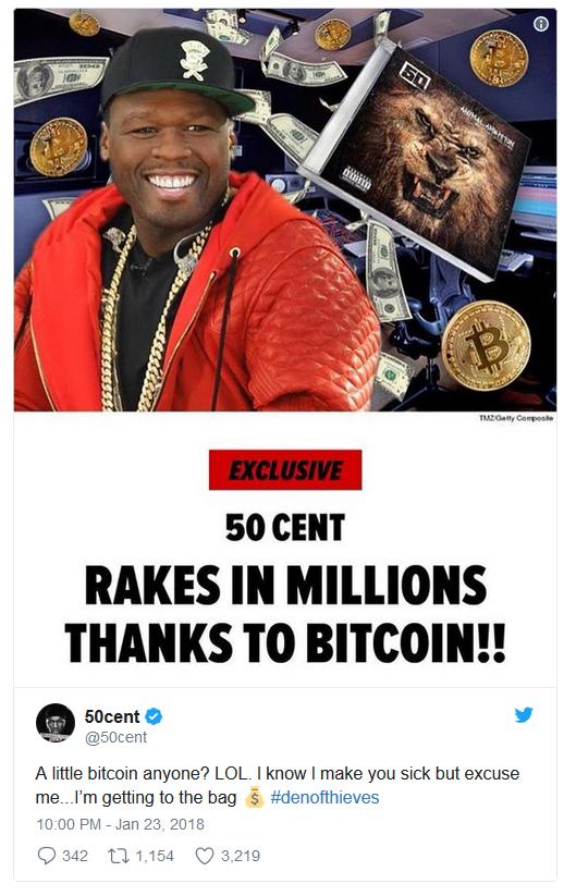 le rappeur 50 cent fait des millions avec la vente de son album en bitcoin.png