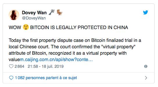 Dovey Wan indique que le bitcoin est une propriété en chine